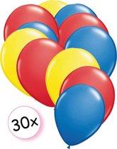 Ballonnen Geel, Rood & Blauw 30 stuks 27 cm