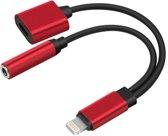2 in 1 Lightning en 3.5 mm Audio Jack Adapter voor Apple iPhone Rood