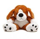 Warmteknuffel lavendel-tarwe Hond bruin/wit