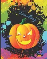 Fun Kid's Pumpkin Colorful Splatter Cute Gift Sketch Book Blank Paper Pad Journal for Doodling Sketching Coloring or Writing