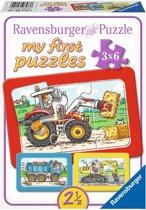 Ravensburger Graafmachine, tractor en kiepauto- My First puzzels -3x6 stukjes - kinderpuzzel