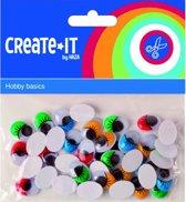 Zelfklevende wiebeloogjes met gekleurde wimper 40 stuks