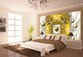 Silver | Yellow Photomural, wallcovering