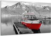 Glas schilderij Boot, Bergen | Zwart, Wit, Rood | 120x70cm 1Luik | Foto print op Glas |  F007228