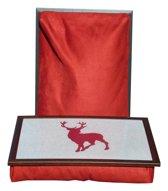 Margot Steel dienblad met kussen - Rendier - rood - 41x31x10 cm