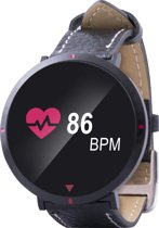 Point of View - Smartwatch (017 Model), activities tracker, met leren bandje ,   pedometer,calorieënmeter, hartslagmeter,slaapmonitor,bloeddrukmeter,push notificaties,alarm,weersvoorspelling