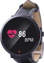 Point of View - Smartwatch (017 Model), activities tracker, met leren bandje ,   pedometer,calorieënmeter, hartslagmeter,slaapmonitor,bloeddrukmeter,push notificaties,alarm,weersvoorspelling