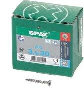 Spax Spaanplaatschroef platverzonken kop RVS T-Star T15 voldraad 3.5x30mm (per 200 stuks)