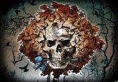 Fotobehang Alchemy Skull Flowers Tattoo | PANORAMIC - 250cm x 104cm | 130g/m2 Vlies