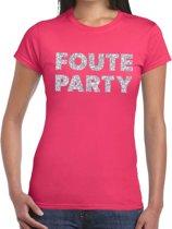 Foute Party zilveren glitter tekst t-shirt roze dames - foute party kleding 2XL