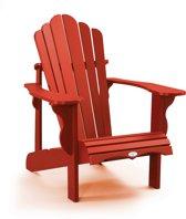 Muskoka of Adirondack chair van gerecycled kunststof in rood. Unieke afwerking, geen zichtbare schroeven!
