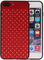 Rood Diamand Geweven hard case hoesje voor Apple iPhone 7 Plus / 8 Plus