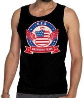 Zwart USA drinking team tanktop / mouwloos shirt / tanktop / mouwloos shirt zwart heren -  Amerika kleding M