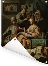 Het Musicerend gezelschap - Schilderij van Rembrandt van Rijn Tuinposter 120x160 cm - Tuindoek / Buitencanvas / Schilderijen voor buiten (tuin decoratie) XXL / Groot formaat!