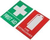 100x66mm EHBO Brandblusser PVC Sticker Teken Reeks van het Overdrukplaatje OHS WHS
