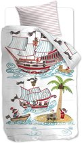 Beddinghouse Kids Pirate Ship - kinderdekbedovertrek - eenpersoons - 140x200/220 - Blauw