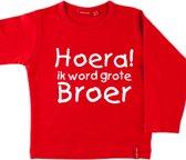 T-shirt lange mouw |  Hoera! ik word grote broer| rood | maat 110/116