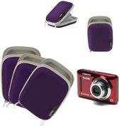 Navitech Paarse waterbestendige harde camera hoes voor kleine digitale camera's