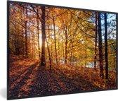 Foto in lijst - De herfstzon schijnt op de bladeren van een bos fotolijst zwart 60x40 cm - Poster in lijst (Wanddecoratie woonkamer / slaapkamer)
