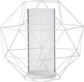 Bloomingville - Windlicht Graphic - Metaal/Glas - Wit - Ø13/29xH26 cm