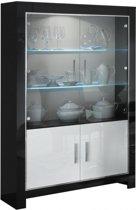 Modena vitrine- glaskast 2 deurs in zwarte en witte hoogglanslak