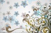 Fotobehang Bloemen | Grijs, Blauw | 416x254