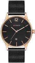 Curren - classic heren horloge - analoog - mesh band - zwart/ rosegoud - met datum - 40 mm - I-deLuxe verpakking