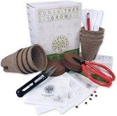 Bonsai starters kit - De complete set om je eigen bonsai te planten - Met 4 soorten zaden, e-boek, bladschaar, snoeischaar, potten, grond, etiketten, handleiding en potlood - Origineel cadeau idee