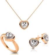 Diamonfire zilveren sieradenset - Maat 16.0 - Ring, Collier, Oorbellen - Hart