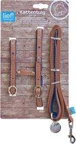 Lief! tuig voor  met looplijn voor kat boys bruin / blauw onderlegd 35 cm - 130 cm