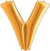 Folieballon letter V goud (100cm)