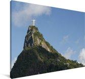Het Christus de Verlosser beeld in de wolken op de heuvel Canvas 180x120 cm - Foto print op Canvas schilderij (Wanddecoratie woonkamer / slaapkamer) XXL / Groot formaat!