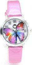 Meisjes horloge roze met Vlinder afbeelding en leer bandje