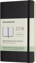 Moleskine 12 Months Weekly Notebook 2018 - Pocket - Black - Soft Cover