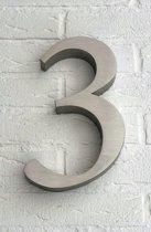 Huisnummer 3 van RVS 3D XL / Hoogte 25 cm / Huisnummer 3 groot.