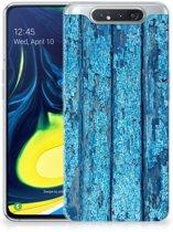 Samsung Galaxy A80 Bumper Hoesje Blauw Wood