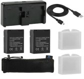 Proqam® 2x Accu / Batterij + Quickcharger GoPro Hero 3 / 3+ (externe oplader) 7 in 1 power pack