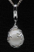Zilveren Kikker op witte bal hanger én bedel