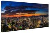 Seoul Panorama bij nacht Canvas 180x120 cm - Foto print op Canvas schilderij (Wanddecoratie woonkamer / slaapkamer) / Steden Canvas Schilderijen XXL / Groot formaat!