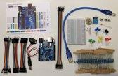 Arduino-compatible starter kit: UNO R3 board, breadboard, jumper wires, LEDs, weerstanden, …