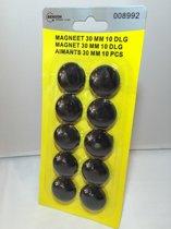Magneten - Magneet - Koelkastmagneet - Whiteboard magneet - 30mm - zwart - 10 stuks