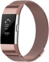 Fitbit Charge 2 bandje (Large) van By Qubix - Rosé Goud - RVS Milanese bandje - Geschikt voor de activity tracker - Lengte: 14CM / 24CM - Fitbit bandje - Hoge kwaliteit!