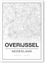 Poster/plattegrond OVERIJSSEL - 30x40cm