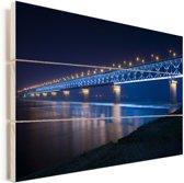 Blauw gekleurde Wuhan-Yangtze-brug in de nacht in Wuhan Vurenhout met planken 90x60 cm - Foto print op Hout (Wanddecoratie)