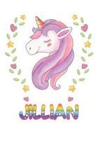 Jillian: Jillian Notebook Journal 6x9 Personalized Gift For Jillian Unicorn Rainbow Colors Lined Paper