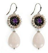 Sweet7 oorhangers met kristal kraaltjes en natuursteen hanger druppel paars grijs