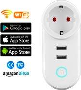 2019 Smart plug - Wifi tijdschakelaar met 2 usb poort - stopcontact - slimme stekker - stekker met timer - werkt met ios of android app