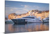 Grote jachten in de haven van Saint-Tropez in Frankrijk Aluminium 180x120 cm - Foto print op Aluminium (metaal wanddecoratie) XXL / Groot formaat!
