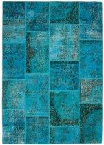 Patchwork tapijt Turquoise Handgeknoopt