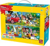 Disney 4 in 1 Puzzel Mickey Mouse - Vier Kinderpuzzels in een Koffertje - King